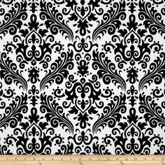 Riley Blake Large Damask White/Black from @fabricdotcom  Designed by RBD Designers for Riley Blake, this cotton print is perfect for quilting, apparel and home decor accents.  Colors include white and black.