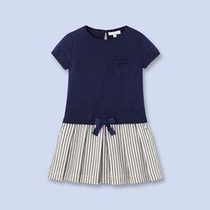 Two-tone cotton dress - Girl - BLUE - Jacadi Paris. Knit top shirt woven with side pockets. Little Girl Dresses, Girls Dresses, Moda Kids, Dress Anak, Girl Fashion, Fashion Kids, Toddler Girl Dresses, Baby Dress, Dress Girl