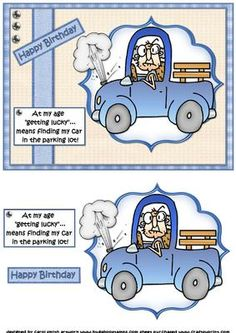 """Gus gets lucky quick card on Craftsuprint designed by Carol Smith - a quick make topper sheet featuring Gus who is happily driving along in his trusty old truck his comment being....At my age """"getting lucky'... means finding my card in the parking lot!Boy can I relate to this one I am always losing my card LOLthank you for looking please take a peek at my other items - Now available for download!"""