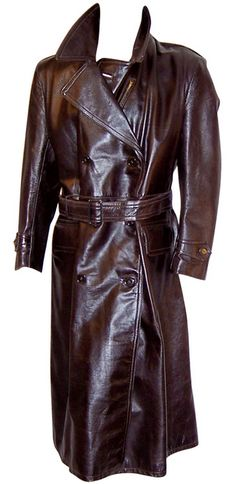 trench coat for over top of the suit. This trench coat would have fur linings. Mens Leather Coats, Long Leather Coat, Leather Jacket, Brown Leather, Cool Coats, Men's Coats, Revival Clothing, Double Breasted, Mens Fashion