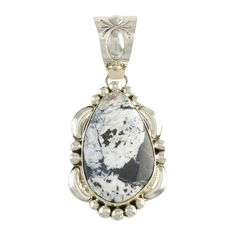 Mary Ann Spencer Sterling Silver White Buffalo Teardrop Pendant Navajo Jewelry -- Awesome products selected by Anna Churchill