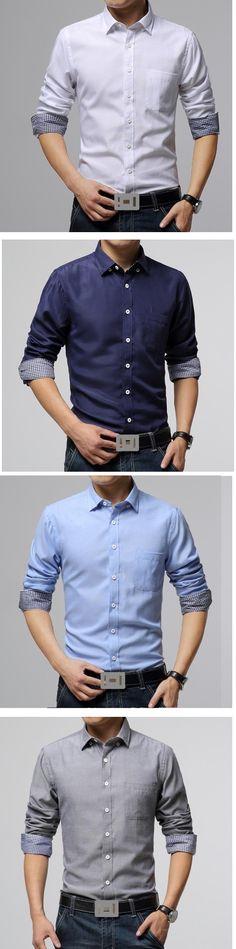"""""""#Camisa para #caballero de distitnos colores estilo Coreano. ¿Cuál es tu favorito? Encuéntralas aquí."""