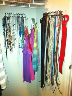 tank top & belt organization - ooh! instead of wasting hanger space (you can get a similar multi-rod swivel towel bar from ikea)