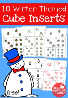 Winter Themed Cube Inserts - 10 FREE Winter Themed Cube Inserts for Rolling Cubes – This Reading Mama - Free Preschool Games, Kindergarten Writing, Preschool Printables, Kindergarten Activities, Preschool Winter, Free Printables, Teach Preschool, Winter Activities, Learning Activities
