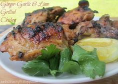 Ginger-Garlic Lime Grilled Chicken - chicken thighs or drumsticks, sea salt, pepper, minced ginger, minced garlic cloves, coconut aminos, sesame oil or olive oil, lime juice, lime zest, onion powder, cumin (optional) - Strict Candida Diet