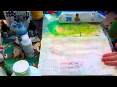 KT----lay wax paper down on wet layer of gesso. When dry, pull off wax paper and you have will wax stuck in the gesso, creating an ink and paint resist.  ▶ Wax Paper Resist Part 2 - YouTube