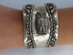 Antique Victorian Edwardian Sterling Silver Owl Wide by CelebLuxe