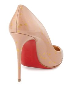 Christian Louboutin Pigalles Follies Red Sole Pump, Nude/Gold