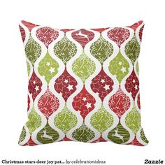 #christmas #xmas #deer #joy #stars #pillow #livingroom in different #partysets. Check more at www.zazzle.com/celebrationideas