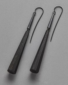 Reclaimed ebony, oxidized sterling silver earwire.  2 1/2 x 3/8 x 3/8 in (8 x 1…