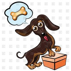 Cartoon dachshund dreaming