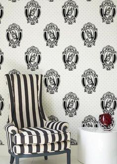 Black and white Antoinette flock wallpaper - by Barbara Hulanicki