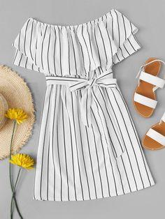 Striped striped A-line dress with belt -French Romwe Gestreiftes Kleid in A-Linie mit Gürtel – French Romwe – Cute Girl Outfits, Cute Summer Outfits, Girly Outfits, Outfits For Teens, Pretty Outfits, Cute Casual Outfits, Dress Outfits, Summer Dresses, Girls Fashion Clothes