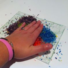 Simple preschooler art to make with coloured rice.