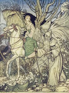 "Arthur Rackham illustration "" 'Little niece,' said Kühleborn, 'forget not that I am here with thee as a guide'"" Undine, 1909."