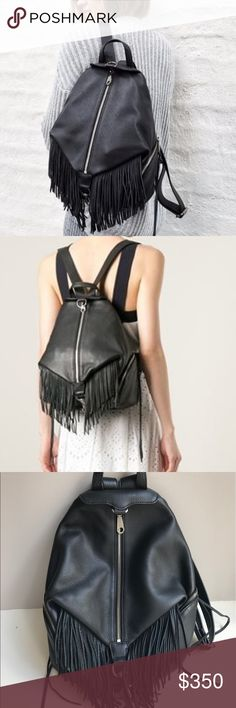 Rebecca Minkoff Julian Fringe Backpack All black leather with fringe backpack with dustbag in perfect condition.   ❌NO TRADES.  All measurements, 🅿🅿 pricing and description of condition listed on my website below.  Shop other items in my closet or visit my website.  CHEAPER THROUGH 🅿🅿 or my website <www.eowardrobe.com>.  I OFFER PAYMENT PLANS!!! Also follow me on instagram for easier access on your phone for photos and payment plans. @erinsonlinewardrobe Rebecca Minkoff Bags Backpacks