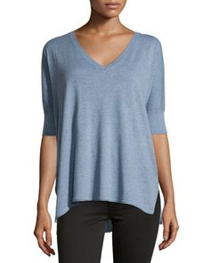 $47.  Cotton+V-Neck+Dolman+3/4-Sleeve+Sweater,+Chambray+by+Minnie+Rose+at+Neiman+Marcus+Last+Call.