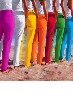 I will take one in each color!  Where do I get them?  Rainbow jeans - a cheerful change from all my black, grey and blue ones :-))
