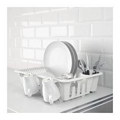 IKEA - FLUNDRA, Abtropfgestell, Für viel Geschirr auf kleinem Raum. 9 Gläser passen an die Außenseite des Abtropfgestells.Bietet auch Platz für große Teller mit einem Durchmesser bis zu 32 cm.