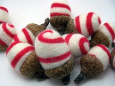 Felted ACORNS Red and White by ChronoSalpGalaxy