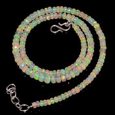 """48CRTS 4to5.5MM 18"""" ETHIOPIAN OPAL FACETED RONDELLE BEADS NECKLACE OBI2139 #OPALBEADSINDIA"""
