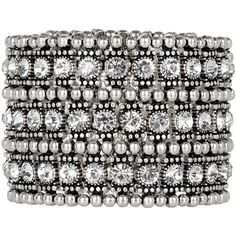 Accessorize Ethnic Mega Bling Stretch Bracelet ($33) ❤ liked on Polyvore featuring jewelry, bracelets, metallic jewelry, stretch jewelry, chunk jewelry, chunky jewelry and accessorize jewelry