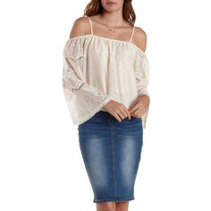 Charlotte Russe Ivory Cold Shoulder Lace Top by Charlotte Russe at... ($22) ❤ liked on Polyvore