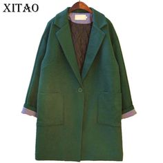 >> Click to Buy << [XITAO] 2016 winter green forest style women long coat vintage fashion female solid color original single button blend SGO003 #Affiliate