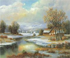 """Gallery Stretched Wholesale Oil Paintings Romantic Landscape Painting Winter, Size: 36"""" x 24"""", $104. Url: http://www.oilpaintingshops.com/gallery-stretched-wholesale-oil-paintings-romantic-landscape-painting-winter-2131.html"""