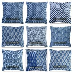 2 PC Indian Paisley Cotton Cushion Cover Block Printed Throw Decor Pillow Case