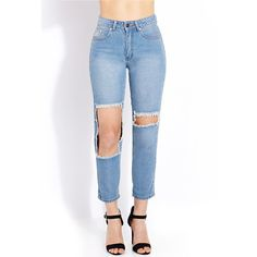 Forever 21 Women's  Favorite Destroyed Boyfriend Jeans ($24) ❤ liked on Polyvore featuring jeans, boyfriend fit jeans, lightweight jeans, zipper jeans, destructed boyfriend jeans and ripped jeans