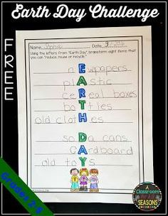 """Earth Day Challenge   Here's a fun Earth Day Challenge for kids in grades 2-5. Students must come up with things that they can """"reduce reuse or recycle"""" using the letters from Earth Day. For a fun video to use with this worksheet and some other simple ideas for Earth Day please check out myblog. Thanks for looking!  2nd grade 3rd grade 4th grade 5th grade Earth Day earth day activities reduce reuse recycle"""