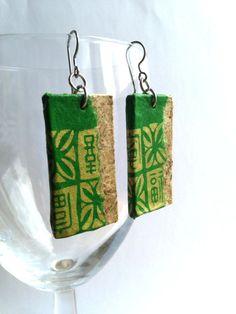 Green Gold Hanji Paper Earrings OOAK Dangle Earrings by HanjiNaty, $12.00