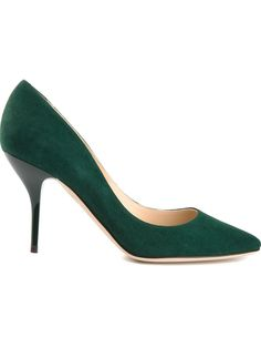 Green suede Mei pumps from Jimmy Choo featuring an almond toe, a brand embossed insole and a mid high stiletto heel.