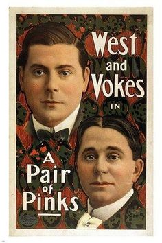 WEST and VOKES in A PAIR OF PINKS vintage theater poster POLITICAL NEW 2X36