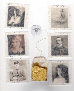 Foto's achter het filter van het theezakje