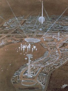 Oblique-Perspective Map Pastel Painting of 1939-1940 New York City World's Fair