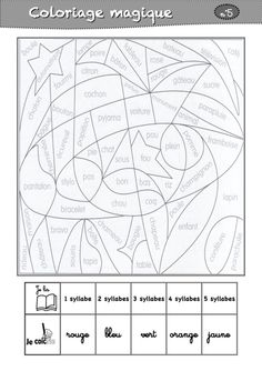 coloriages magiques CP Make word pictures (use colouring pages and add sections and words) with words to match which sounds and vocab you're teaching each week. French Verbs, French Grammar, Kindergarten Language Arts, Homeschool Kindergarten, Teaching French, French Lessons, English Lessons, Core French, School