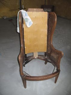 step by step on how reupholster a wingback chair