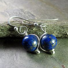 My Blue Heaven - drop earrings made from natural cobalt blue lapis with flecks of gold mica    ...from LavenderCottage on Etsy
