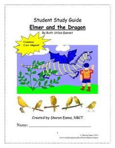 This student study guide offers direct vocabulary instruction and CCSS aligned reading and writing activities for Elmer and the Dragon, the sequel to My Father's Dragon, by Ruth Stiles Gannett. It would be appropriate for students needing differentiated instruction and scaffolds in place to access text.