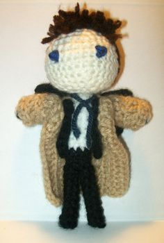 Supernatural's Castiel Crochet Doll by PaintsAndNeedles on Etsy  ||  Cas is my favorite SPN character.  Features his lopsided tie and beige trenchcoat.  Wings optional.  You'll never leave this adorable doll standing alone on a street corner!