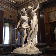 Daphne and Apollo by Bernini. Here is  an extraordinary sculpture. That kind which can not be listed or classified. Daphne and Apollo represents the myth of a God who fell in love with a nymph and was rejected by her... Daphne's tragic destiny was to become a tree....  A sculpture to see. Any time of your life.   At the Borghese Gallery, in Rome: one of the most art exclusive galleries on earth.