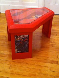 Superman coffee table with glass top and comic book por GuidroZart