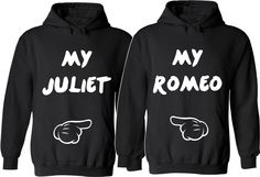 My ROMEO My JULIET Couple Hoodies  For Her For Him Unisex Sizes,So Comfy Cozy, Perfect for any day to share your love Valentine's Day Gifts by SuperTeesandHats on Etsy
