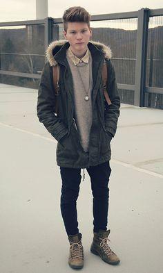 Topman Parka, H&M Shirt, H&M Pullover, Zara Boots