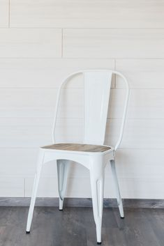 White steel and reclaimed wood tolix chair