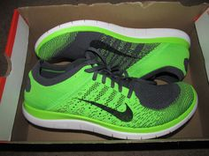 uk availability 27443 b32be Nike Flyknit 4.0 Mens Running Shoes 15 Dark Grey Electric Green 631053 003  for sale online   eBay