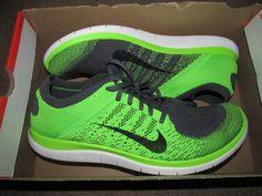 Nike Free Flyknit 4.0 Mens Running Shoes 15 Dark Grey Electric Green 631053 003 #Nike #RunningCrossTraining