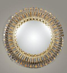 LINE VAUTRIN 1913 - 1997 MIROIR SORCIÈREROMAIN, VERS 1960 'ROMAIN',A STAINED TALOSEL RESIN AND GLASS CONVEX MIRROR BY LINE VAUTRIN, CIRCA ...